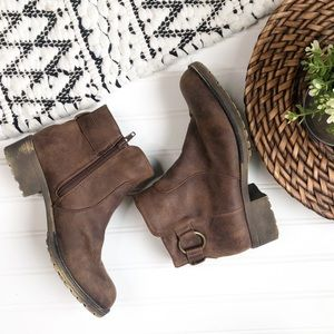Brown soft faux leather Booties